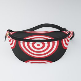 Red targets on black background Fanny Pack