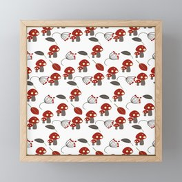 Red Mushrooms Woodland Whimisical Framed Mini Art Print