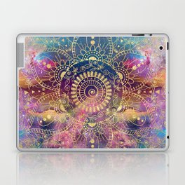 Gold watercolor and nebula mandala Laptop & iPad Skin