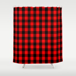 Classic Red and Black Buffalo Check Plaid Tartan Shower Curtain