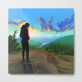 A girl and the blue mountain Metal Print