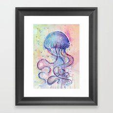 Jellyfish Watercolor Framed Art Print