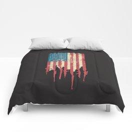 Distressed United States of America USA Flag Grunge Guns Comforters