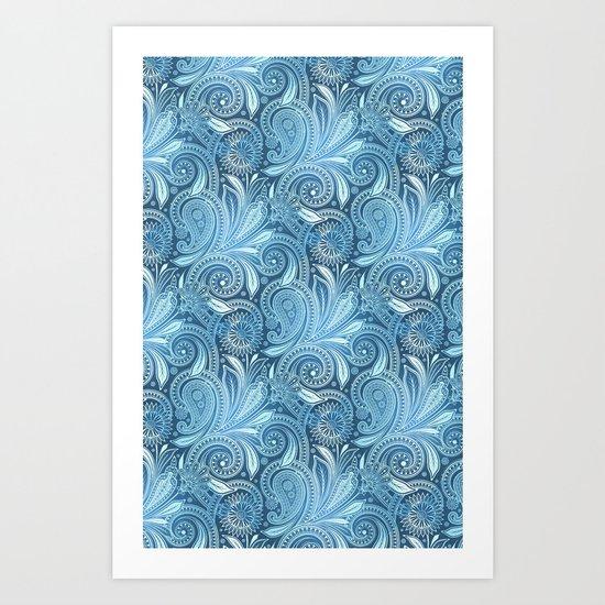 Blue Ocean Paisley  Art Print