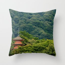 Japanese forest temple Throw Pillow