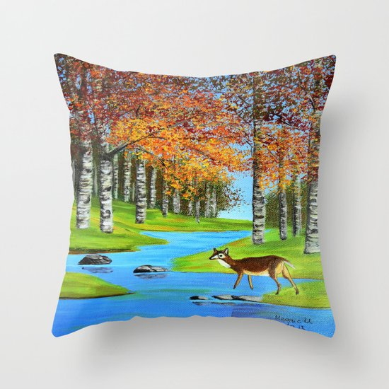 Birch trees in the fall  Throw Pillow