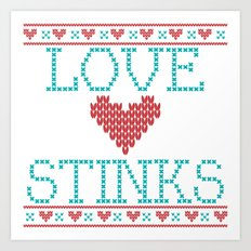 Love Stinks Cross Stitch Art Print