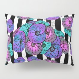 Florals over black and white stripes Pillow Sham