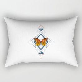 Geometric Pattern with Monarch Butterflies Rectangular Pillow