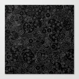 Clockwork B&W inverted / Cogs and clockwork parts lineart pattern Canvas Print