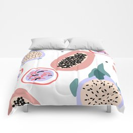 Tropical and exotic fruits. Isolated vector sketch of lychee, durian, mangosteen, fig, dragon fruit, Comforters