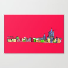 Sketchy Town in pink Canvas Print