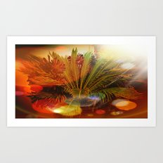 Tropical plants and flowers Art Print