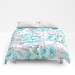 Modern teal gray chic romantic roses flowers Comforters