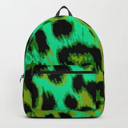 Aqua and Apple Green Leopard Spots Backpack
