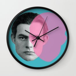 Hemingway - portrait pink and blue Wall Clock