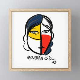 Mondrian Girl Minimal Portrait Framed Mini Art Print