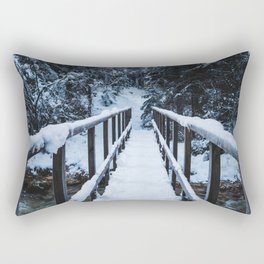 Crossing the river in winter Rectangular Pillow