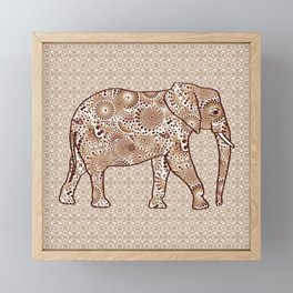 Fractal Swirl Elephant, Brown and Taupe Framed Mini Art Print