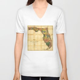 Map of the State of Florida (1856) Unisex V-Neck