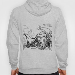 Motorcycle art, black and white portrait Hoody