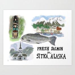 Salmon in Sitka, Alaska Art Print