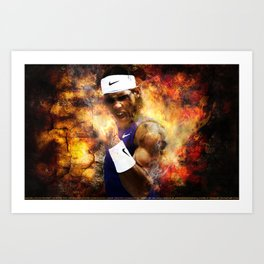 Rafael Nadal on Fire Print Art Print