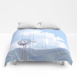 """Blue Windmill Blue Sky"" by Murray Bolesta Comforters"