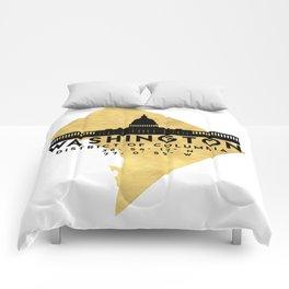 WASHINGTON D.C. DISTRICT OF COLUMBIA SILHOUETTE SKYLINE MAP ART Comforters