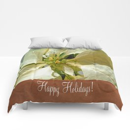 Pale Yellow Poinsettia 1 Happy Holidays S1F1 Comforters