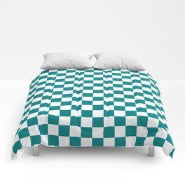 Small Checkered - White and Dark Cyan Comforters
