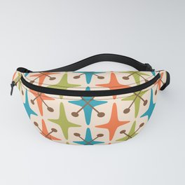 Mid Century Modern Abstract Star Pattern 441 Orange Brown Turquoise Chartreuse Fanny Pack