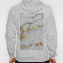 White and Gray Marble and Gold Metal foil Glitter Effect Hoody