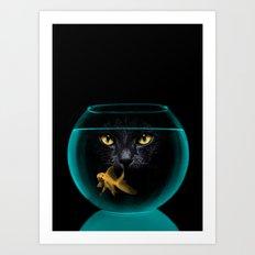 Black Cat Goldfish II Art Print