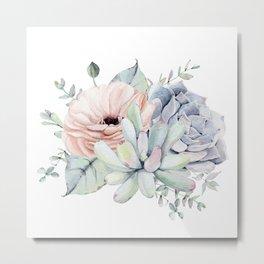 Pretty Succulents by Nature Magick Metal Print