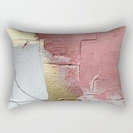 Darling: a minimal, abstract mixed-media piece in pink, white, and gold by Alyssa Hamilton Art Rectangular Pillow