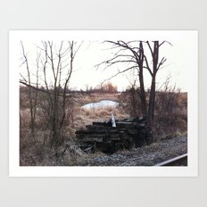 Old train track boards  Art Print