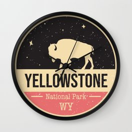 Yellowstone National Park Badge Wall Clock