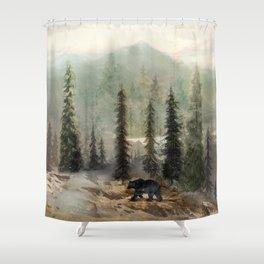 Mountain Black Bear Shower Curtain