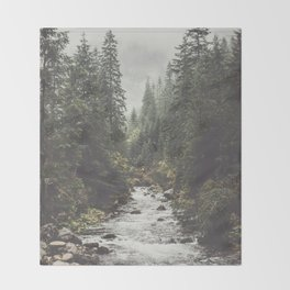 Mountain creek - Landscape and Nature Photography Throw Blanket