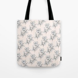 Pink Linen White Flowers Tote Bag