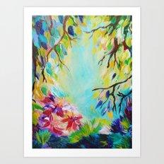 BLISS - Stunning Bold Colorful Idyllic Dream Floral Nature Landscape Secret Garden Acrylic Painting Art Print