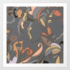 Color Blocking | Floral Shapes Art Print
