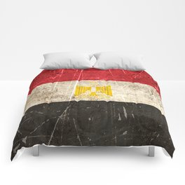 Vintage Aged and Scratched Egyptian Flag Comforters