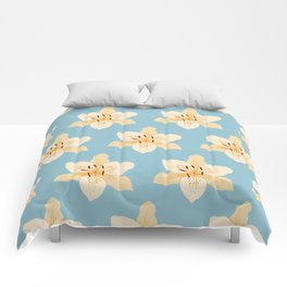 Day Lily Illustrative Pattern on Light Blue Comforters