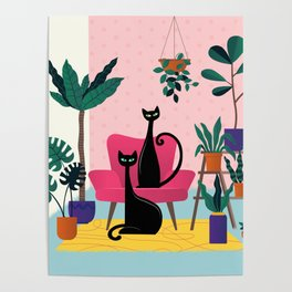 Sleek Black Cats Rule In This Urban Jungle Poster