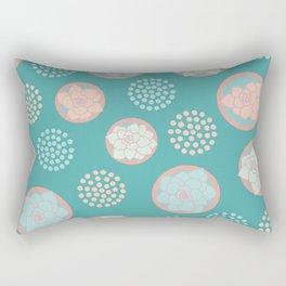 Succulent Pattern #1 | Green Background Rectangular Pillow