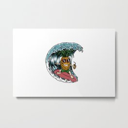 Pineapple Surfer Metal Print