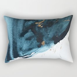 Sapphire and Gold Abstract Rectangular Pillow