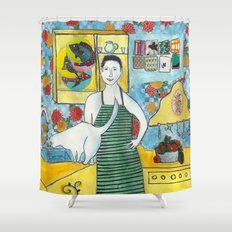 Man with cat in the kitchen Shower Curtain